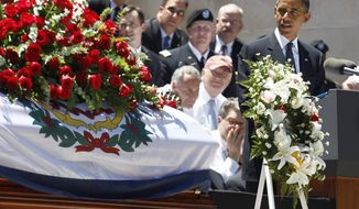 President Obama speaks at a memorial service for Sen. Robert C. Byrd, Friday, July 2, 2010, at the Capitol in Charleston, W.Va. (AP Photo/Charles Dharapak)