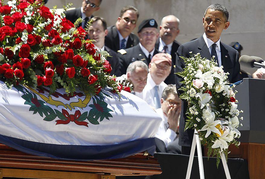 President Barack Obama speaks at a memorial service for Sen. Robert Byrd, Friday, July 2, 2010, at the Capitol in Charleston, W.Va. (AP Photo/Charles Dharapak)
