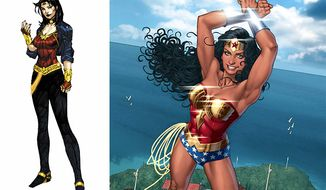 Wonder Woman's new costume compared to the old.