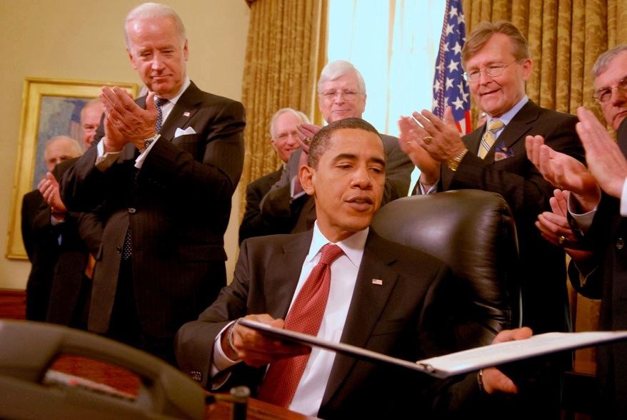 President Obama signs four executive orders, including one to close the detention facility at Guantanamo Bay, Cuba, in the Oval Office on Jan. 22, 2009, as Vice President Joseph R. Biden Jr. looks on. Dana Perino, who was press secretary at the end of the Bush administration, said she watched with amusement during the 2008 campaign as Mr. Obama made promises she knew he would be hard-pressed to keep. (The Washington Times)