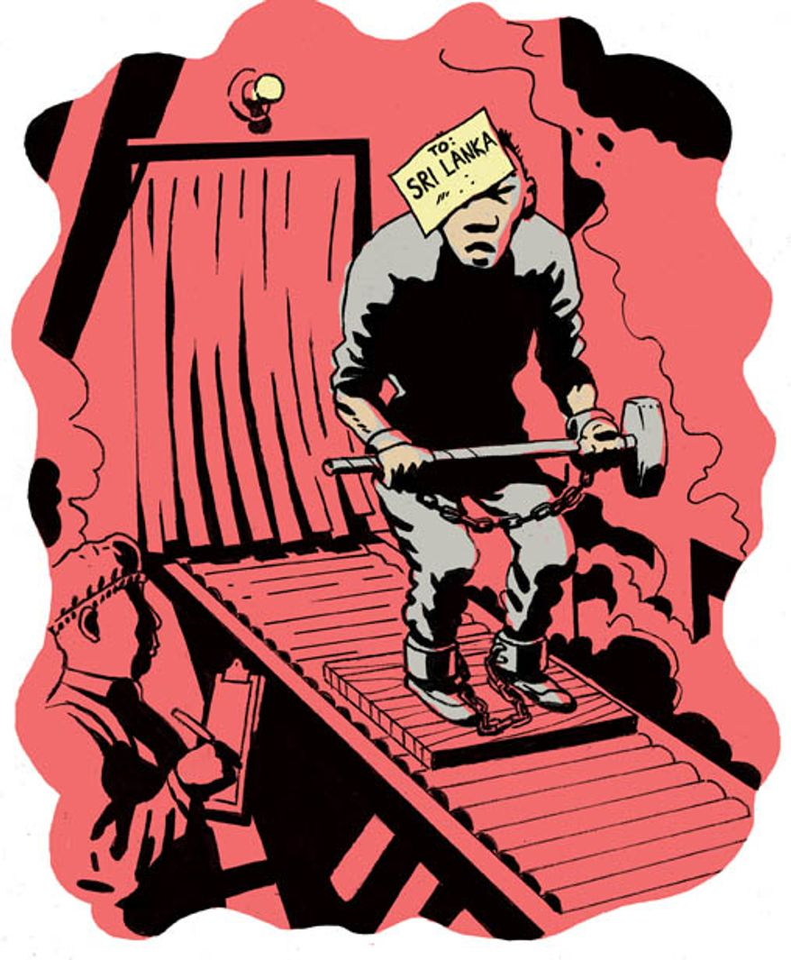 Illustration: Chinese labor by Alexander Hunter for The Washington Times