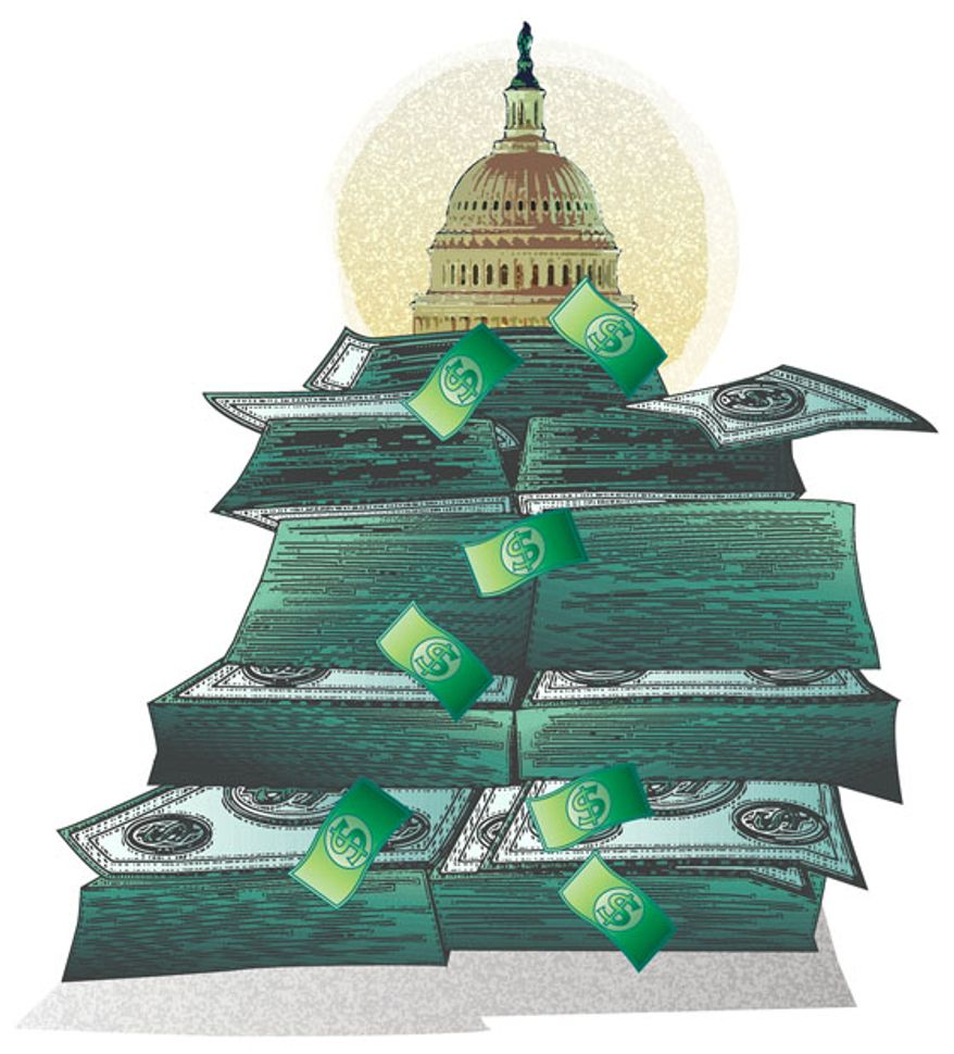 Illustration: Cash mountain by Greg Groesch for The Washington Times