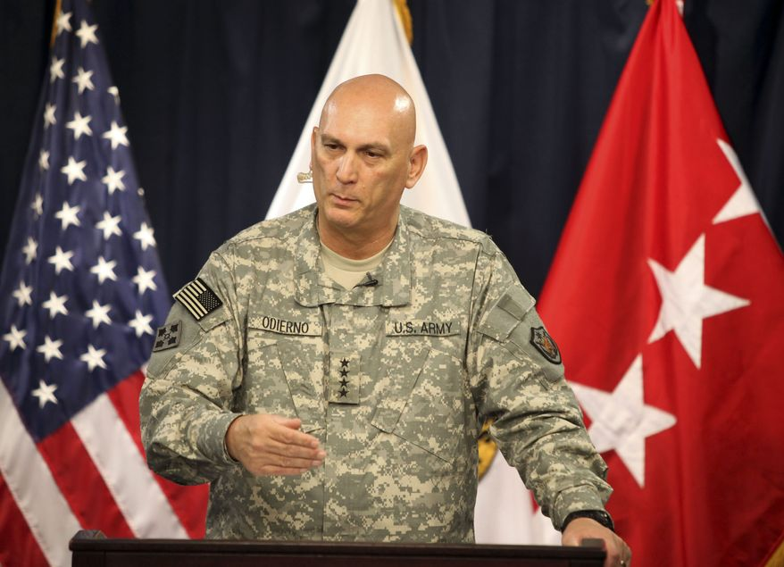 U.S. Army Gen. Raymond T. Odierno speaks during a press conference in Baghdad on Tuesday, July 6, 2010. (AP Photo/Karim Kadim)
