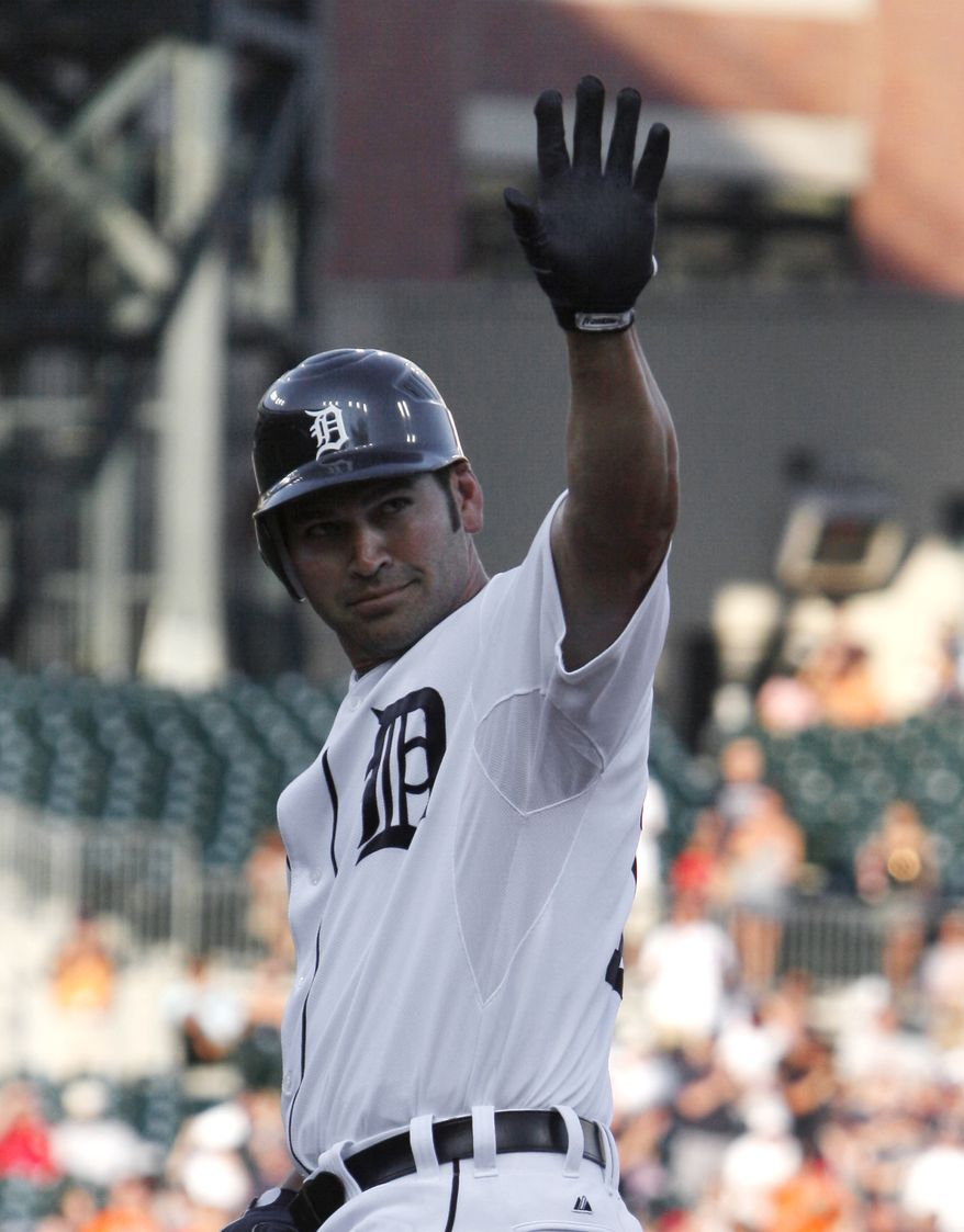 ASSOCIATED PRESS Detroit Tigers Johnny Damon waves after getting his 2,500th hit, a single, against the Baltimore Orioles in the third inning of a MLB baseball game in Detroit, Tuesday, July 6, 2010.