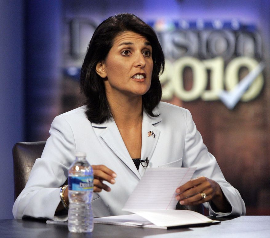 ASSOCIATED PRESS FILE - In this June 17, 2010 file photo South Carolina Republican gubernatorial candidate, Rep. Nikki Haley, R-Lexington, takes part in a televised debate in Columbia, S.C. Sarah Palin's support and tea party activists helped GOP Haley  emerge from a crowded field to capture the GOP nod for governor.