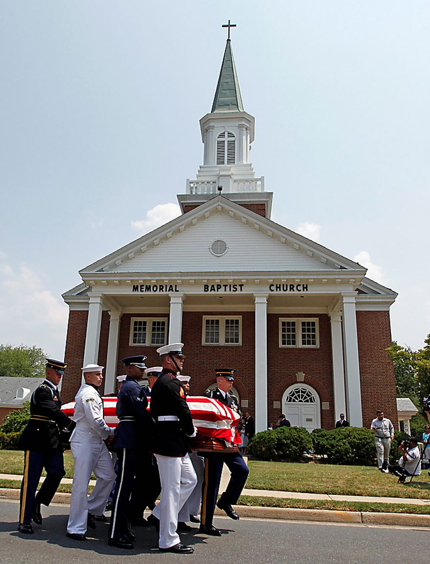 A joint-services military honor guard carries the casket of Sen. Robert Byrd, D-W.Va., Tuesday, July 6, 2010, after a funeral service at the Memorial Baptist Church in Arlington, Va. (AP Photo/Haraz N. Ghanbari)