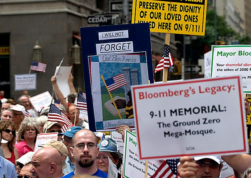 People in New York protest the proposed construction of a mosque near the World Trade Center site Sunday, June 6, 2010. (AP Photo/Swoan Parker)