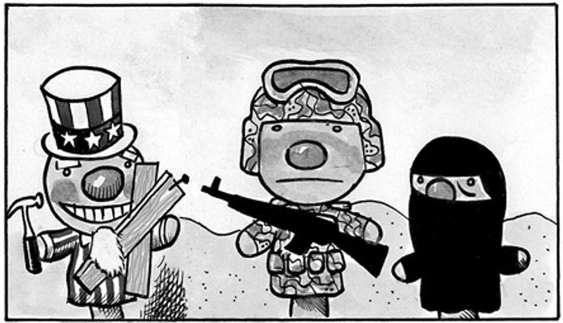 Illustration: Rebuilding Afghanistan by Alexander Hunter for The Washington Times