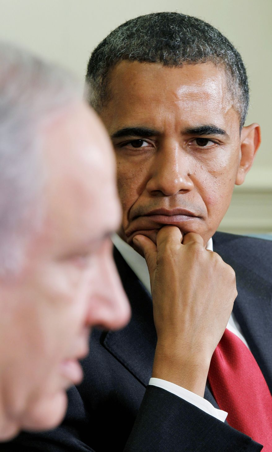 """'UNBREAKABLE BOND': Israeli Prime Minister Benjamin Netanyahu and President Obama both said reports about more distant relations in the past year were """"wrong."""" Mr. Netanyahu visited Mr. Obama in the Oval Office and talked with a group of reporters. (Associated Press)"""