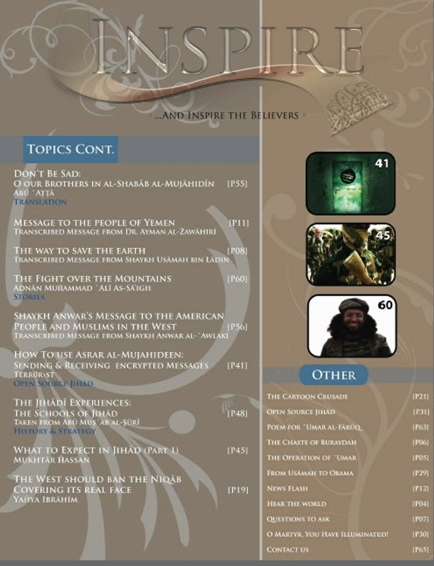 A page of the online magazine Inspire, a recruitment tool for jihadists that touts itself as the first magazine to be issued by al Qaeda in English. It appears to be the brainchild of radical cleric Anwar al-Awlaki, a target of the Obama administration.