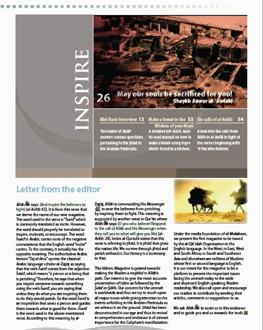 A page of Inspire, a new online recruitment tool for jihadists that touts itself as the first magazine to be issued by al Qaeda in English. Due to technical glitches, only its first three pages are available.