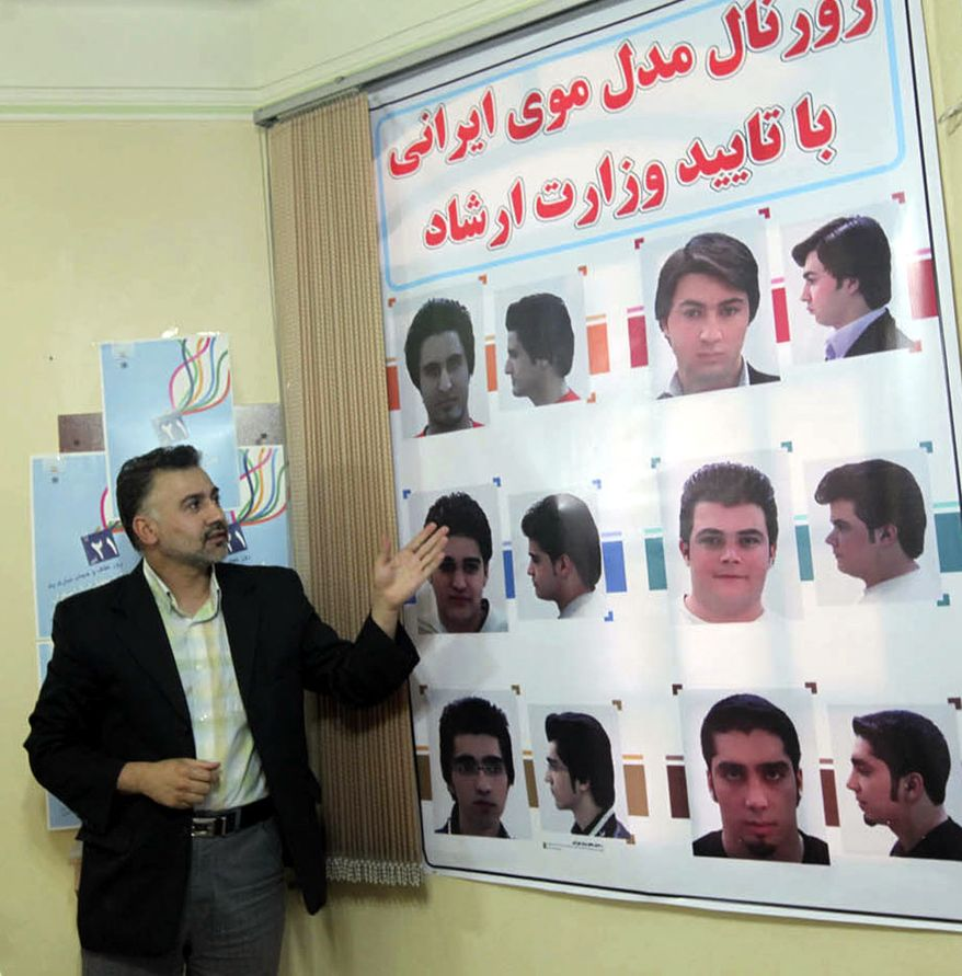 In this picture released by the semi-official Iranian Mehr News Agency, an official explains about haircuts for men culturally appropriated by the Iran's Ministry of Culture and Islamic Guidance, in Tehran, Iran, on Monday, July 5, 2010. (Photo: Associated Press)