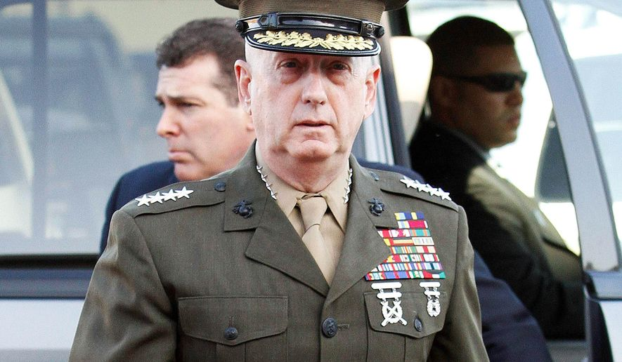Marine Corps Gen. James N. Mattis arrives at Camp Pendleton Marine Corps Base in San Diego County, Calif. (Associated Press/File)