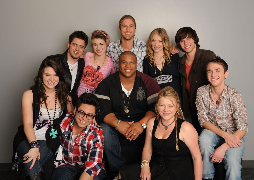 "In this publicity image released by Fox, the final ten contestants in season nine's ""American Idol,"" clockwise from bottom right, Aaron Kelly, Crystal Bowersox, Michael Lynche, Andrew Garcia, Katie Stevens, Lee Dewyze, Siobhan Magnus, Casey James, Didi Benami and Tm Urban are shown in Los Angeles. CBS, NBC, ABC and Fox together had the smallest number of prime-time viewers last week in two decades of record-keeping, the Nielsen Co. said. (AP Photo/Fox, Michael Becker)"