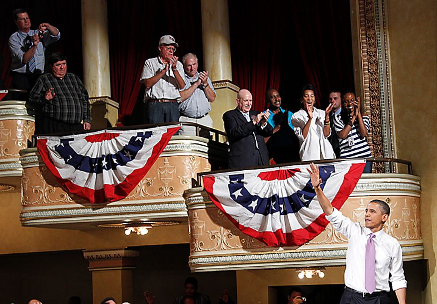 President Barack Obama waves to supporters after speaking at a campaign rally for Missouri Senate hopeful Robin Carnahan, Thursday, July 8, 2010, in Kansas City, Mo. (AP Photo/Pablo Martinez Monsivais)