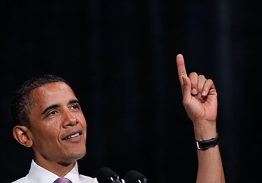 President Barack Obama speaks at a campaign rally for Missouri Senate hopeful Robin Carnahan, Thursday, July 8, 2010, in Kansas City, Mo. (AP Photo/Pablo Martinez Monsivais)