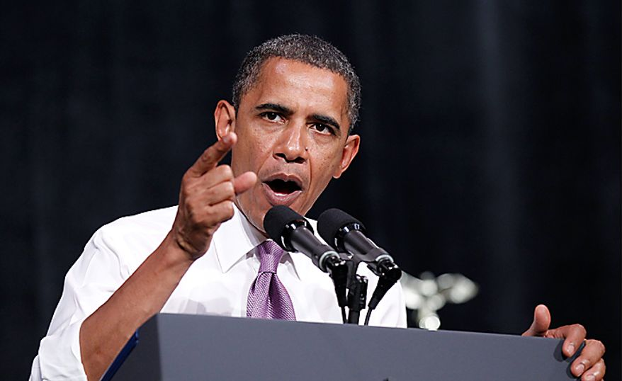 President Barack Obama speaks at a campaign fundraiser for Missouri Senate hopeful Robin Carnahan, Thursday, July 8, 2010, in Kansas City, Mo. (AP Photo/Pablo Martinez Monsivais)