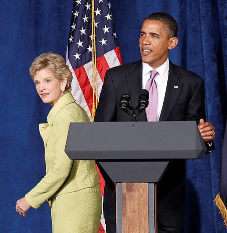President Barack Obama and Missouri Senate hopeful Robin Carnahan take part in a campaign fundraiser, Thursday, July 8, 2010, in Kansas City, Mo. (AP Photo/Pablo Martinez Monsivais)