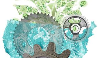 Illustration: U.S. manufacturing by Greg Groesch for The Washington Times