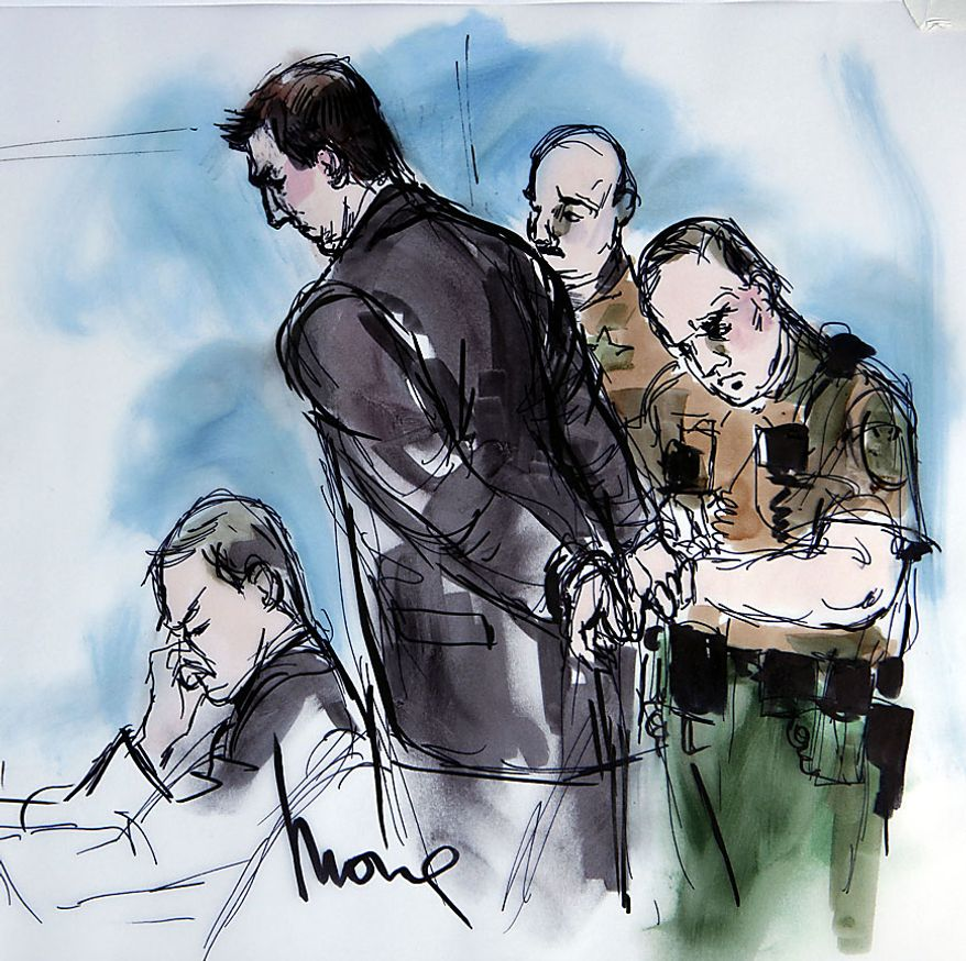 In this artist's sketch, former BART police officer Johannes Mehserle, center, is taken into custody as his attorney Michael Rains, left, reacts after the verdict of guilty of involuntary manslaughter in the killing of Oscar Grant on an Oakland train station, at the Criminal Justice Center in Los Angeles Thursday, July 8, 2010. (AP Photo/Mona Shafer Edwards)