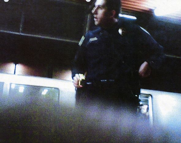 This image provided by the Los Angeles County Superior Court shows a cell phone image taken, according to lawyers, by Oscar Grant, of former San Francisco Bay Area Rapid Transit police officer Johannes Mehserle shortly before Mehserle shot Grant on New Year's Day 2009. Mehserle testified Friday June 25, 2010 that he mistakenly pulled out his pistol instead of a stun gun when he shot and killed an unarmed black man who was lying face down on an Oakland train platform. (AP Photo/ Los Angeles County Superior Court)