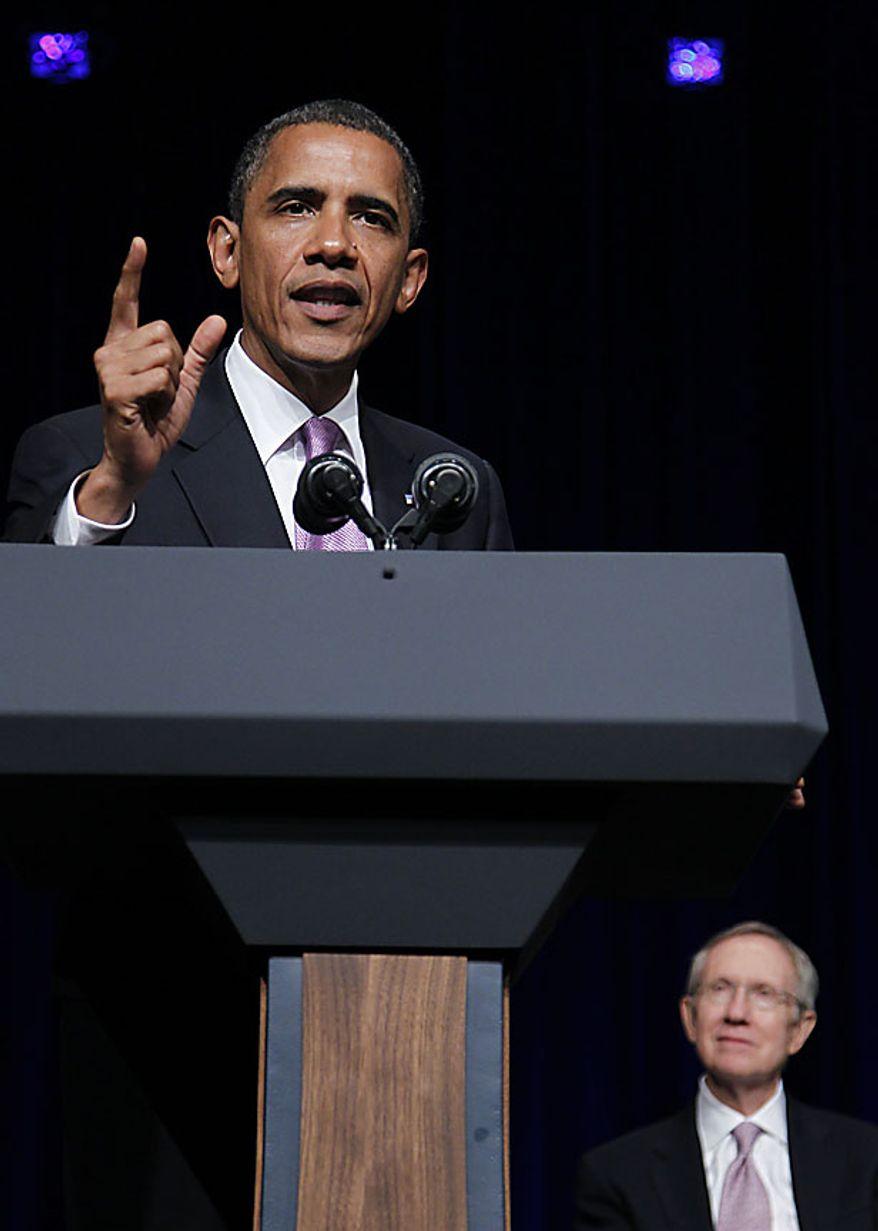 President Barack Obama speaks at a campaign fundraiser for Senate Majority Leader Harry Reid D-Nev., in Las Vegas, Thursday, July 8, 2010.(AP Photo/Pablo Martinez Monsivais)