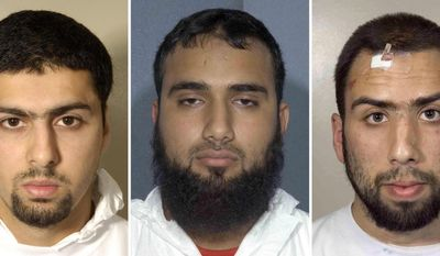 These are undated Metropolitan Police Service handout file photos of from left to right Arafat Waheed Khan, Waheed Zaman and Ibrahim Savant. The three British Muslims convicted of participating in a plot to bomb trans-Atlantic airliners were sentenced Monday, July 12, 2010, to at least 20 years in prison. (AP Photo Metropolitan Police, HO)