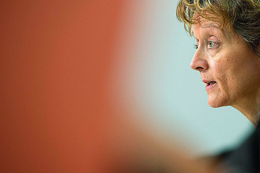 Swiss Cabinet-level Minister Eveline Widmer-Schlumpf speaks during a press conference concerning the extradiction of film director Roman Polanski to the United States on Monday, July 12, 2010 in Bern, Switzerland. Polanski will not be extradited and was released from house arrest in his chalet in Gstaad, Switzerland. He was arrested in September 2009 when entering Switzerland after a request by U.S. authorities in relation to a sex case dating back to 1977. (AP Photo/Keystone/Peter Schneider)