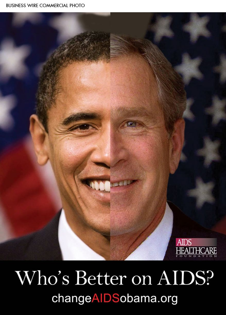 As the White House releases its National AIDS Strategy Tuesday, Los Angeles-based AIDS Healthcare Foundation launched an ad campaign comparing President Obama's AIDS policy with President George W. Bush's. (Graphic: AIDS Healthcare Foundation)