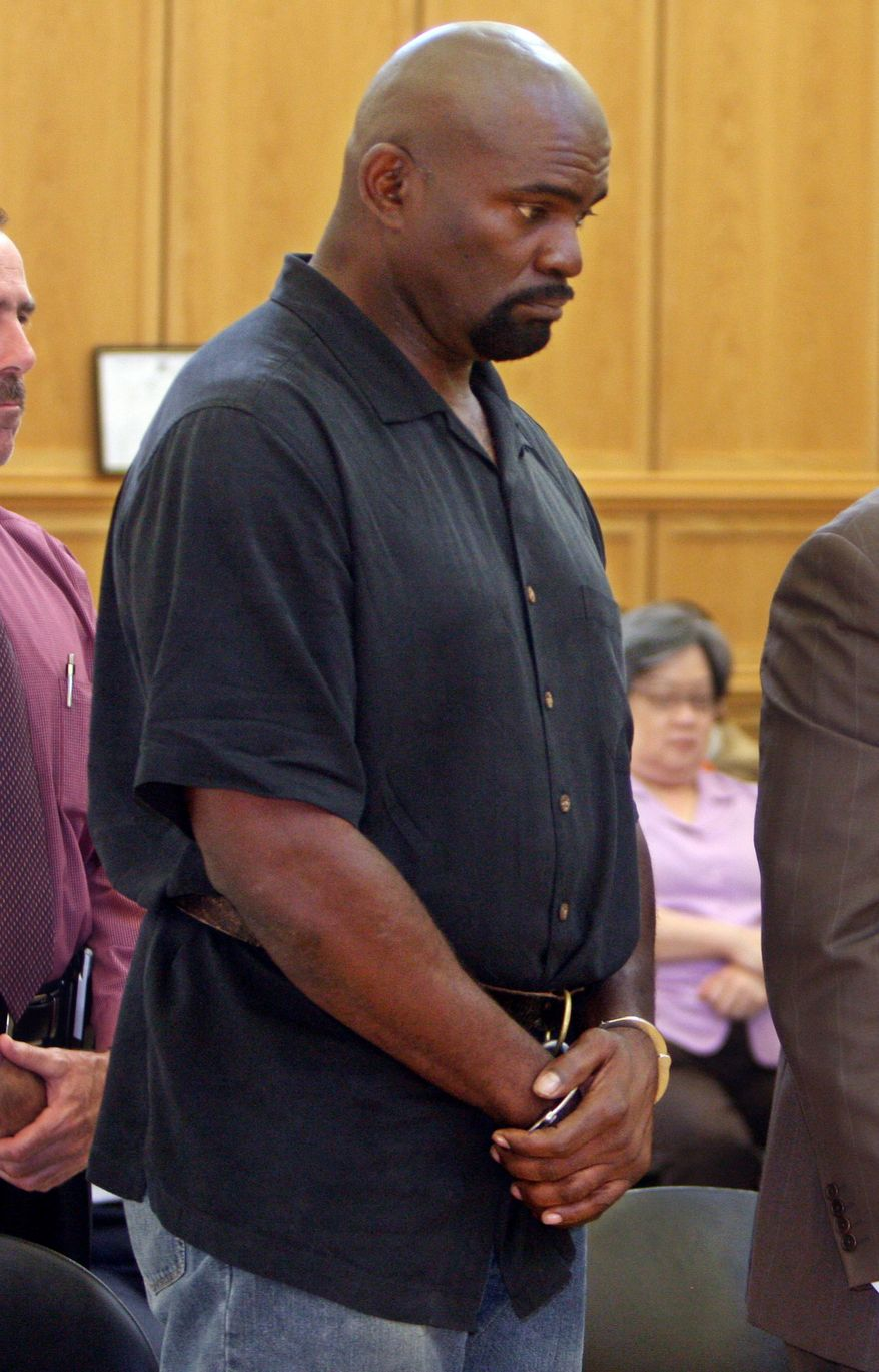This May 6, 2010, file photo shows former New York Giants linebacker and Pro Football Hall of Famer Lawrence Taylor appearing during his arraignment at Ramapo Town Court in Suffern, N.Y. Taylor has been indicted by a suburban New York grand jury on charges of rape, criminal sexual act and sexual abuse. The indictment Wednesday, June 23, 2010, follows his May 6 arrest at a Holiday Inn. (AP Photo/Seth Harrison, Pool FILEl)