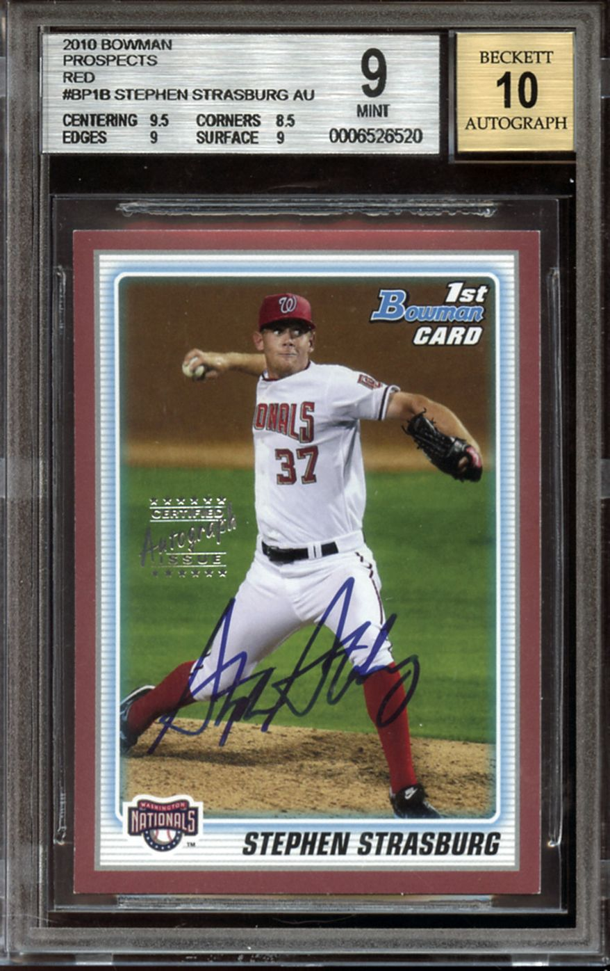ASSOCIATED PRESS This image provided by Huggins and Scott Auctions shows a 2010 Bowman Prospects rookie baseball card for Washington Nationals pitcher Stephen Strasburg that will be up for bid in a two-week online auction beginning Wednesday, July 14, 2010, through Huggins and Scott, a sports memorabilia auction house in Silver Spring, Md.