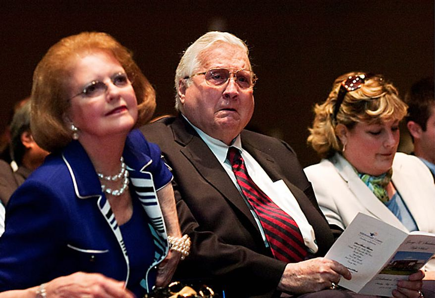This May 16, 2010, file photo shows George Steinbrenner, along with his wife, Joan (left), at the dedication of George M. Steinbrenner High School in Lutz, Fla. A person close to George Steinbrenner says the Yankees owner died Tuesday morning, July 13, 2010. (AP Photo/Tampa Tribune, Chris Urso, File)