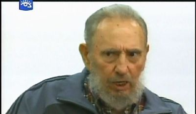 """This television image provided by Cubavision shows Cuba's former president Fidel Castro speaking during an interview in Havana, Monday, July 12, 2010 on the """"Mesa Redonda"""" or """"Round Table,"""" a daily Cuban talk show on current events. It was a rare appearance for Castro, who has stayed largely out of the public eye since a serious illness four years ago forced him from power. (AP Photo/APTN via Cubavision)"""