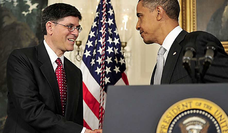 "President Barack Obama, right, shakes hands with Jacob J. ""Jack"" Lew, left, after announcing he has named Mr. Lew to serve as director of the Office of Management and Budget (OMB) in the Diplomatic Reception Room of the White House in Washington, D.C., on Tuesday, July 13, 2010. (UPI/Ron Sachs/POOL)"