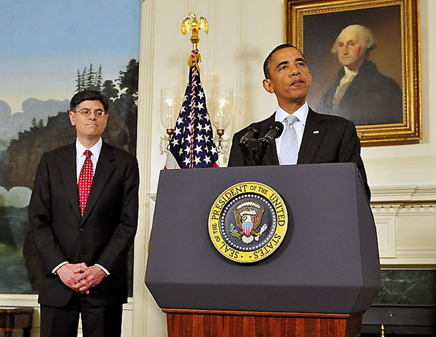 """President Barack Obama, right, announces he has named Jacob J. """"Jack"""" Lew, left, to serve as director of the Office of Management and Budget (OMB) in the Diplomatic Reception Room of the White House in Washington, D.C., on Tuesday, July 13, 2010. (UPI/Ron Sachs/POOL)"""