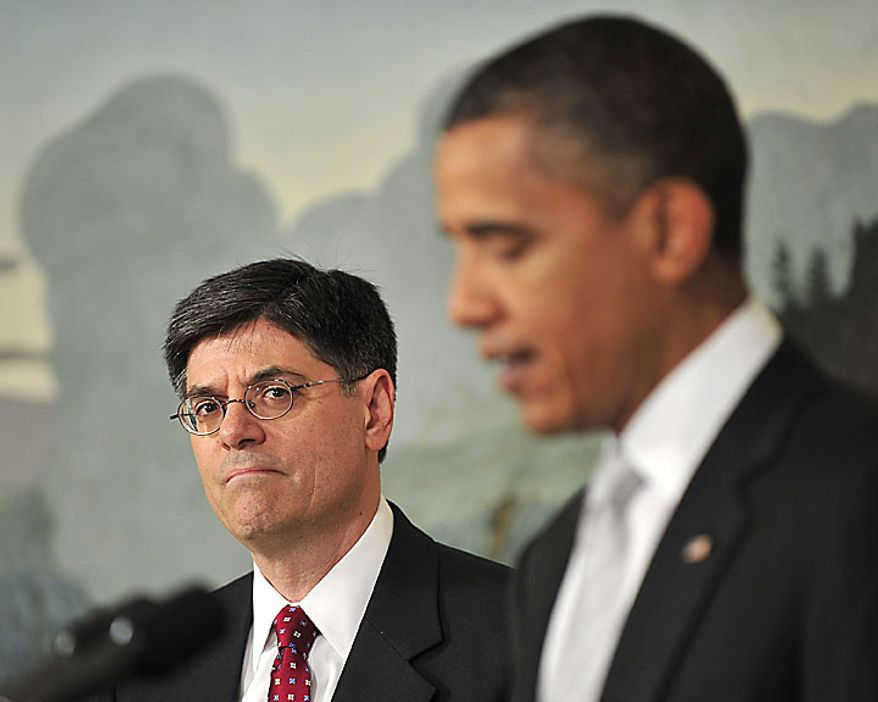 "President Barack Obama, right, announces he has named Jacob J. ""Jack"" Lew, left, to serve as director of the Office of Management and Budget (OMB) in the Diplomatic Reception Room of the White House in Washington, D.C., on Tuesday, July 13, 2010. (UPI/Ron Sachs/POOL)"