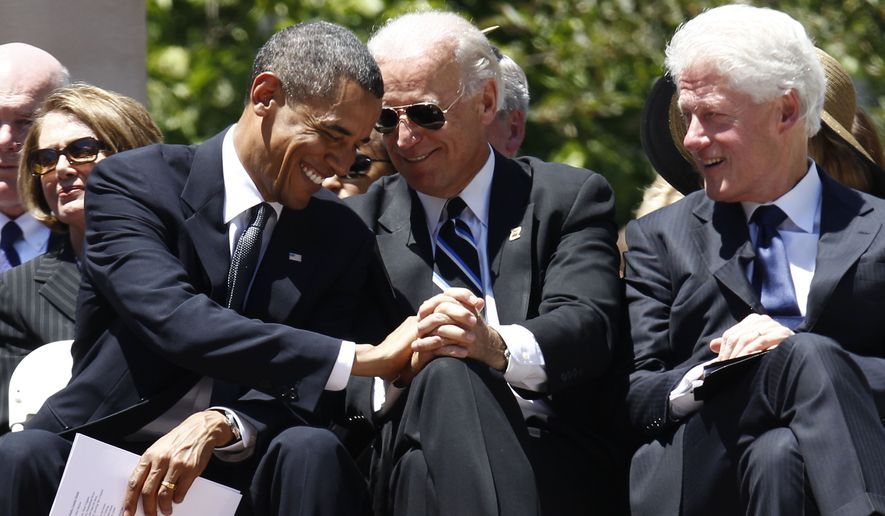 President Obama, Vice President Joseph R. Biden, Jr., and former President Bill Clinton attend a memorial service for Sen. Robert C. Byrd, Friday, July 2, 2010, at the Capitol in Charleston, W.Va. (AP Photo/Charles Dharapak) **FILE**