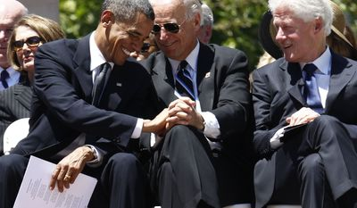 President Obama, Vice President Joseph R. Biden, Jr., and former President Bill Clinton attend a memorial service for Sen. Robert C. Byrd, Friday, July 2, 2010, at the Capitol in Charleston, W.Va. (AP Photo/Charles Dharapak)