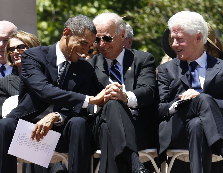 President Obama, Vice President Joseph R. Biden, Jr., and former President Bill Clinton attend a memorial service for Sen. Robert C. Byrd, Friday, July 2, 2010, at the Capitol in Charleston, W.Va. (AP Photo/Charles Dharapak)