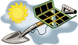 Illustration: Solar shovel ready by Alexander Hunter for The Washington Times
