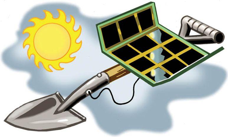 Illustration: Solar shovel ready by Alexander Hunter for The Washington Times