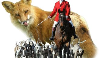 Illustration: Fox hunt by Greg Groesch for The Washington Times