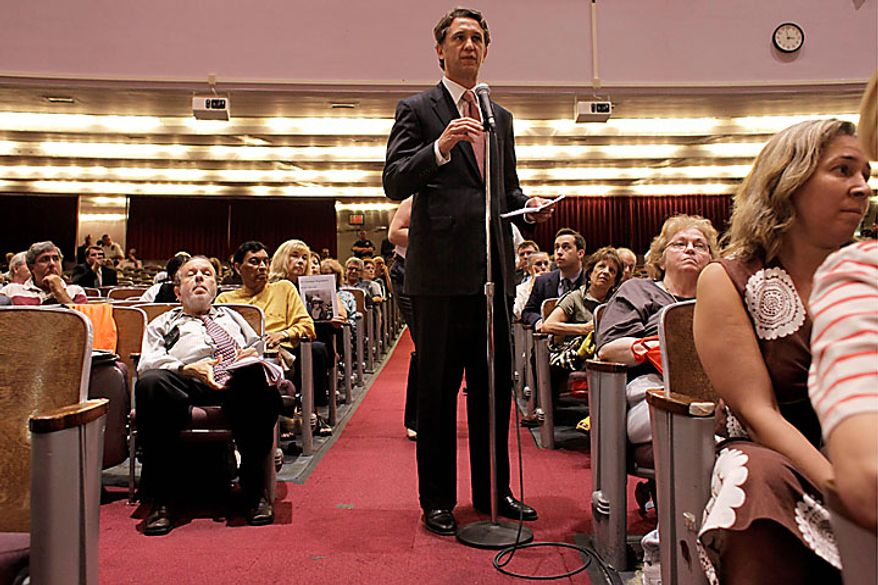 Rick Lazio, Republican candidate for governor of New York, speaks out against a proposal to build a mosque near the site of the World Trade Center during a Landmarks Commission hearing Tuesday, July 13, 2010 in New York. (AP Photo/Mary Altaffer)