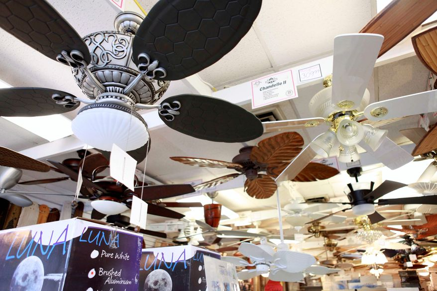 Ceiling fans are on display at Dan's Fan City in Rockville, Md., Wednesday, June 16, 2010. Ceiling fans can provide an energy-efficient supplement to air conditioning during these hot summer months. (AP Photo/Jacquelyn Martin)