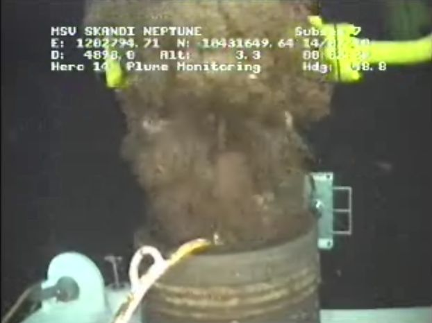 In a photo made from video provided by BP PLC, oil emerges from the damage wellhead Wednesday morning July 14, 2010 at 1:04 a.m. EDT in the Gulf of Mexico. (AP Photo/BP PLC)