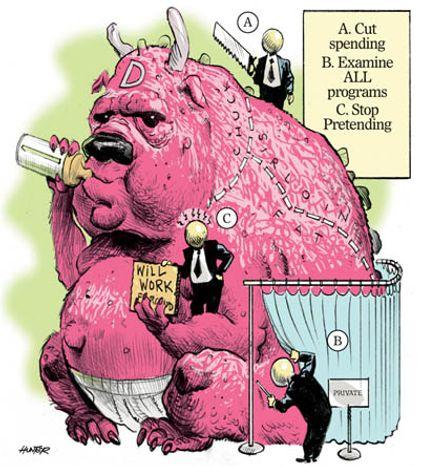Illustration: Debt monster by Alexander Hunter for The Washington Times