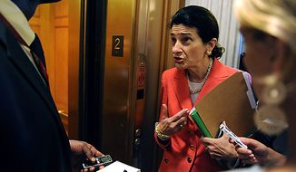 Sen. Olympia Snowe, R-ME, speaks with a reporter after voting yes on a cloture vote on the financial reform bill on Capitol Hill in Washington on July 15, 2010. The vote passed which allows a final vote on passage of the bill later today.   UPI/Roger L. Wollenberg