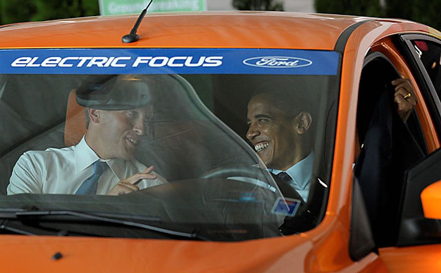President Barack Obama and Holland, Mich. Mayor Kurt Dykstra, sits in an electric Ford Focus, at the groundbreaking ceremony at Compact Power, Inc., a subsidary of LG Chem Ltd., a battery plant, Thursday, July 15, 2010, in Holland, Mich. (AP Photo/Susan Walsh)