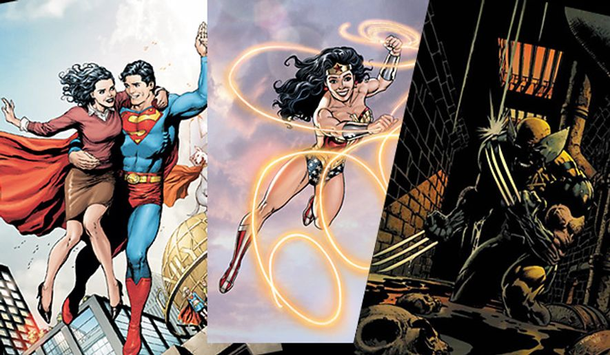 Covers of Superman, No. 700 and  Wonder Woman, No. 600 from DC Comics and Wolverine, No. 900 from Marvel Publishing
