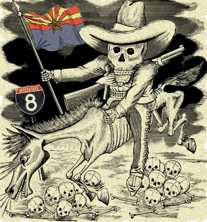 Illustration: Arizona militia by Alexander Hunter for The Washington Times